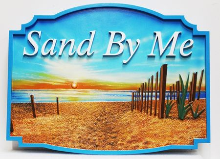"""L21099 - Carved Artist-Painted HDU Seashore Property Name Sign """"Sand by Me', with Sunset Over the Ocean and Sand and Fence as Artwork"""