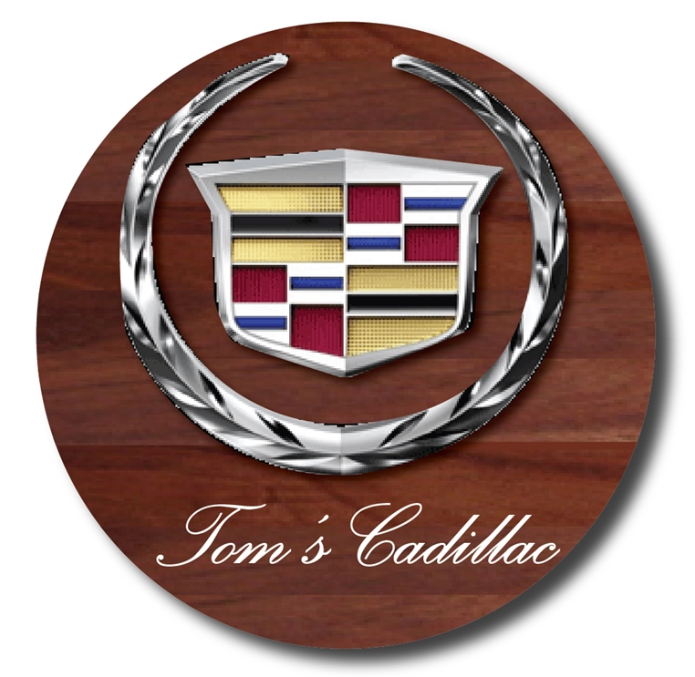 Z35314 -  3-D Mahogany Cadillac Wall Plaque  with  a  Polished Aluminum Logo Overlay.
