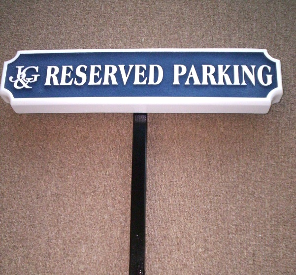 "KA20685 - Carved HDU Sign for ""Reserved Parking"" with Company Logo and Steel Post"