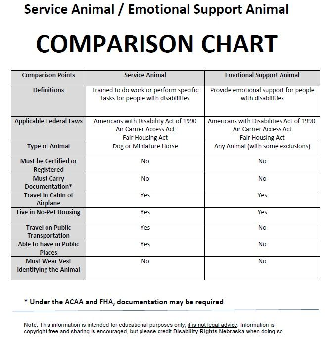 Image of Service Animal / Emotional Support Animal Comparison Chart