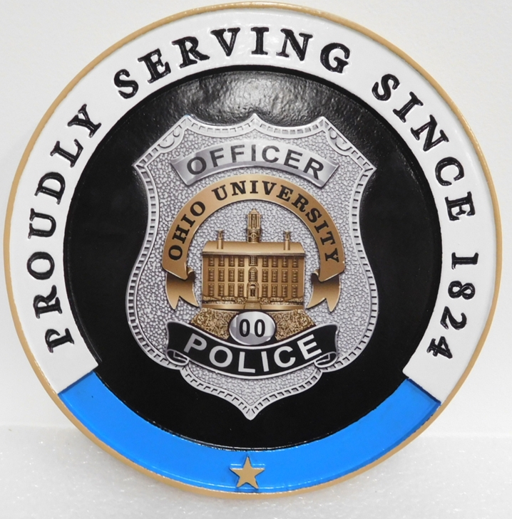 PP-1538 - Carved Plaque of the Badge of the Police of Ohio University, 2.5-D Artist-Painted