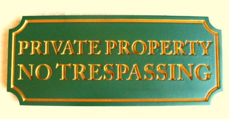 H17136 - Carved Wood Private Property / No Trespassing Sign