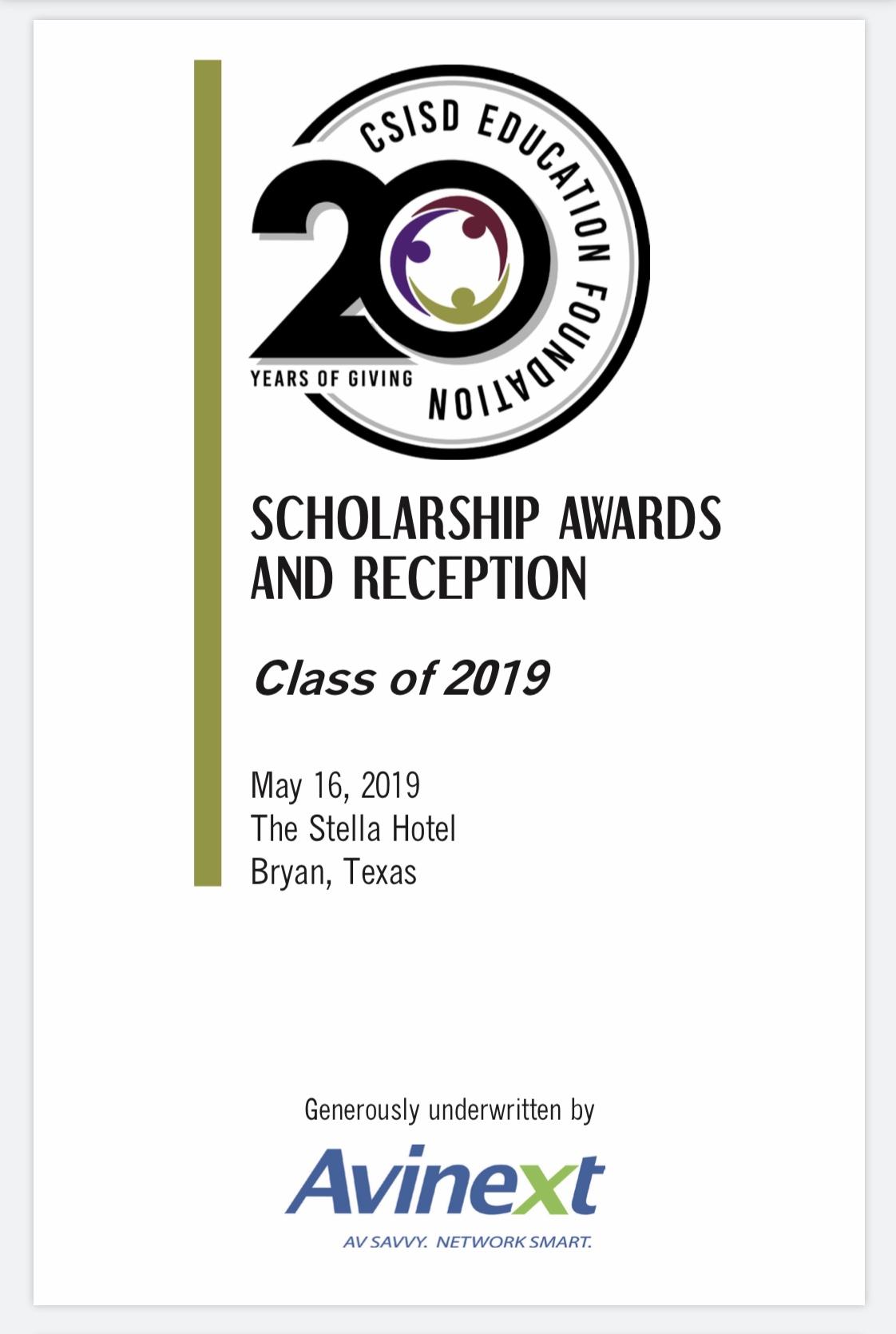 DOWNLOAD 2019 Scholarship Reception Program