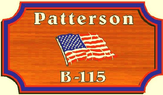 I18926 - Redwood  Engraved Sign with US Flag