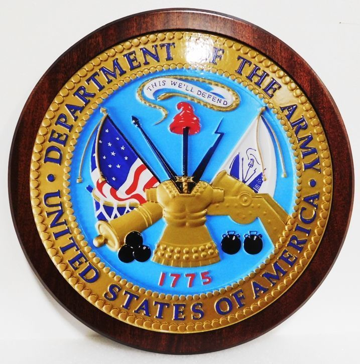 V31704 - Carved High-Density-Urethane (HDU) Plaque of the Seal ofthe US Army, Mounted on Mahogany Wood