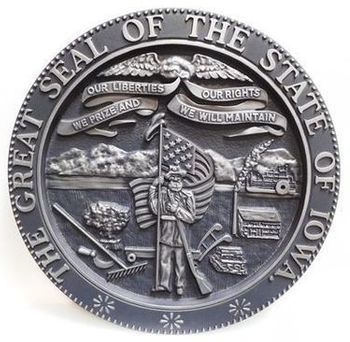 W32202 - Carved 3-D Aluminum-Plated HDU Plaque of the Great Seal of the State of Iowa