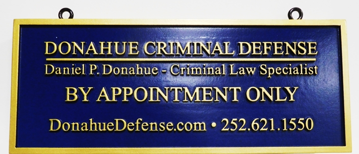 "A10435 - Carved 2.5-D HDU  Entrance ""Shingle"" Hanging Sign for the Donohue Criminal Defense Law Office"