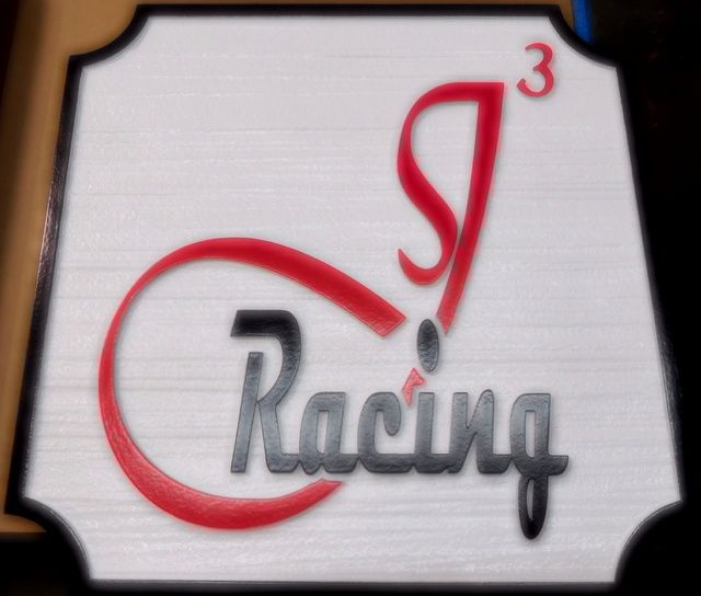 """SA28793 - High-Density-Urethane (HDU) Sign for a  """"Racing """"  Team, with Large Stylized Logo"""
