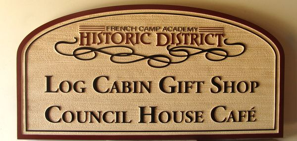 Q25637 - Carved Wood Look HDU Sign for Log Cabin Gift Shop and Cafe in Historic District