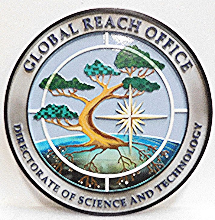 AP-3184 - Carved Plaque of the Seal of Global Reach Office, 2.5-D Artist-Painted