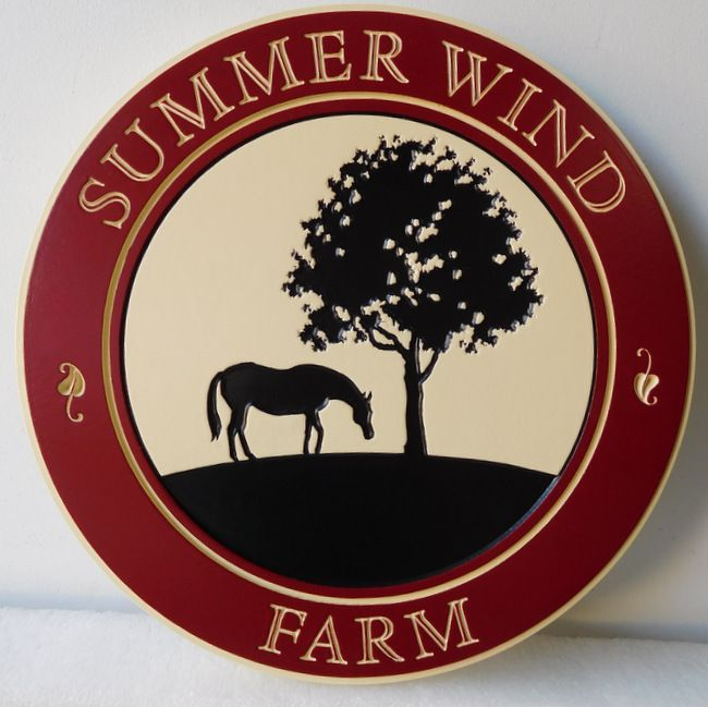 P25093 - Carved, Engraved Farm Sign with Tree and Horse