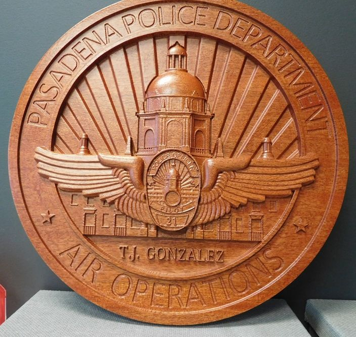 M3056 -  Carved  Mahogany Wood Plaque for the Pasadena Police Department, Air Operations Division (Gallery 34)