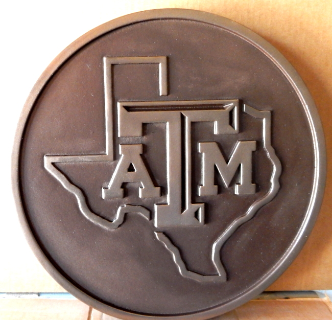 W32488 - Bronze Wall Plaque for Texas A&M University,  Carved in 2.5D, featuring an Outline of the State of Texas