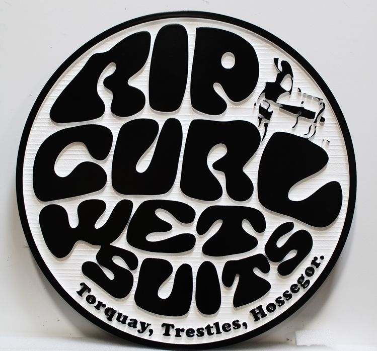 """SA28830 - Carved 2.5-Dand Sandblasted Wood Grain Sign  for """"Rip Curl Wetsuits"""""""