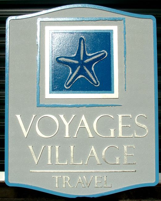 SA28014 - Carved HDU Sign for a Travel Agency with Carved, Raised Image of a Starfish