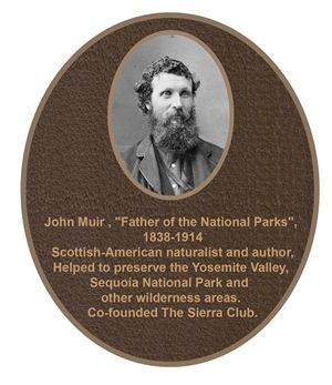 ZP-2080 - Carved Memorial Photo Plaque  for  John Muir,  Painted  Light and Dark Bronze
