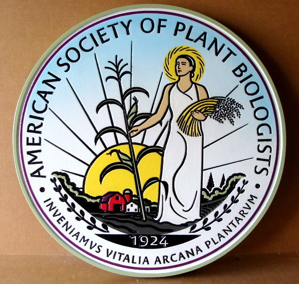 SA28753 - Carved HDU Plaque for the American Society of Plant Biologists, with Woman &  Plants as Artwork