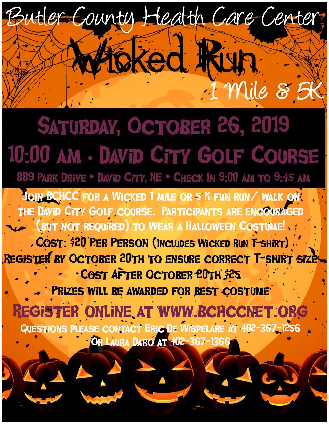 WICKED RUN - Butler County Health Care Center - 1 mile & 5K Run
