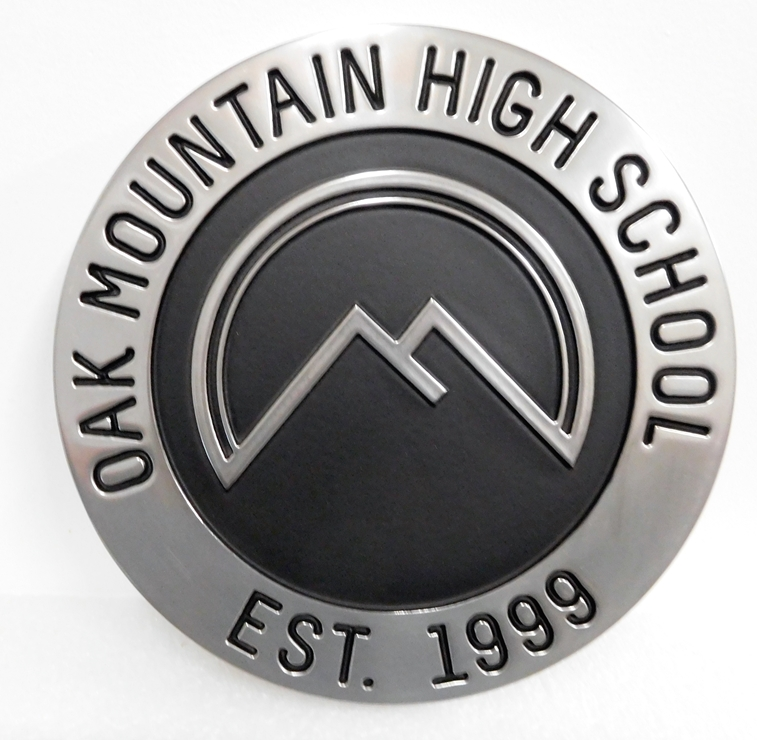 Y34725 - Carved Round wall plaque of the Seal of the Oak Mountain High School, Aluminum Coated with Black Patina ,