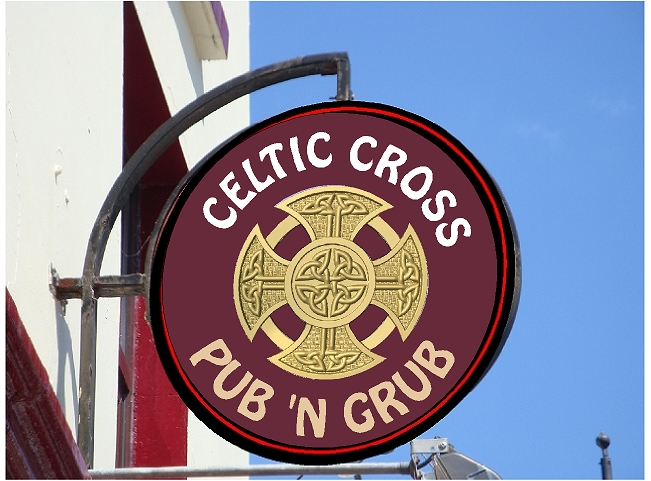 RB27626 - Carved Wood Irish Pub & Restaurant Sign with Celtic Cross