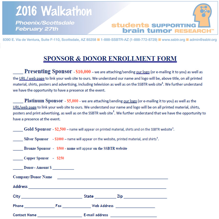 2016 Sponsorship Enrollment Form