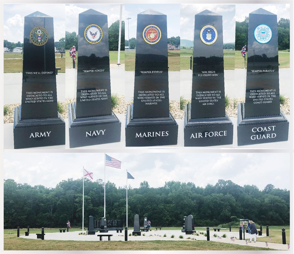 IP-1291 - Set of Five Armed Forces Carved Seals Installed on Granite Obelisks in Veterans Memorial Park in Jackson County, Alabama
