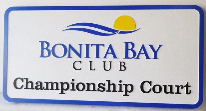GB16842 - Carved HDU  Championship  Tennis Court Entrance Sign for the Bonita Bay Club