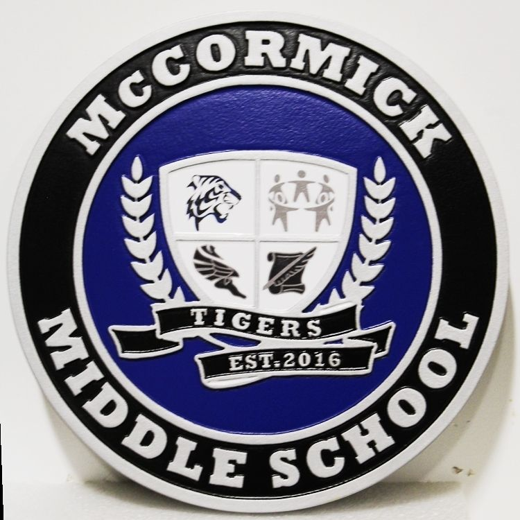 TP-1082 - Carved 2.5-D HDU Plaque of the Seal of McCormick Middle School