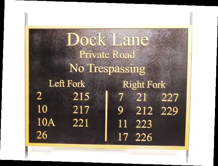 H17031 - Carved (HDU) Street Name and Multiple Address Sign for Dock Lane, Raised Text