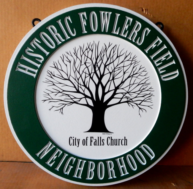 K20178 - Carved HDU Sign for Historic Fowler's Field , City of Falls Church, with Tree