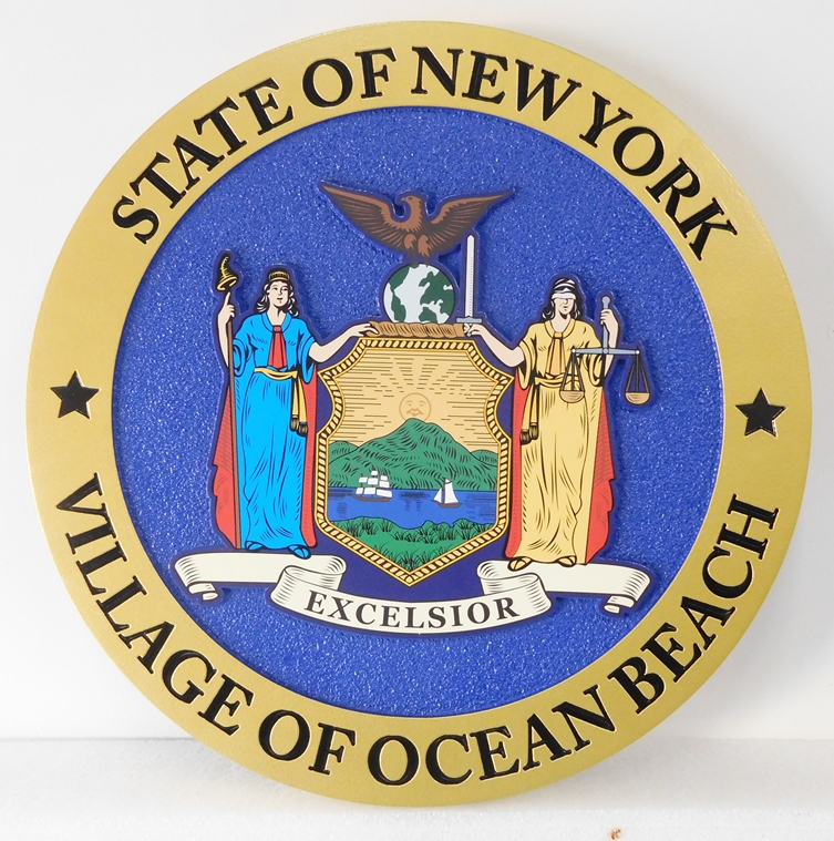 X33122 - Wall Plaque  for the Village of Ocean Beach, New York featuring the Seal of New York State