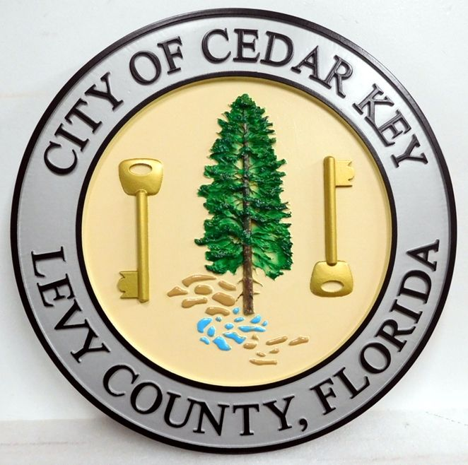 DP-1270 - Carved Plaque of the Seal of the City of Cedar Key, Artist Painted