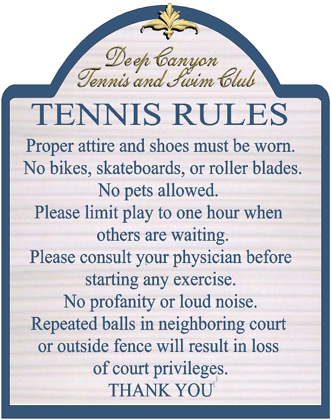GB16857 - Carved HDU Tennis Court  Rules Sign for the Deep Canyon Tennis and Swim Club