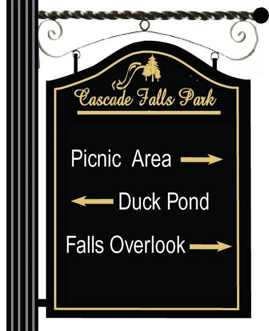 GA16581 - Design of HDU or Wood Sign Mounted on Rust Resistant Steel Hanging Bracket for Cascade Falls Park, Picnic Area, Duck Pond, Falls Overlook