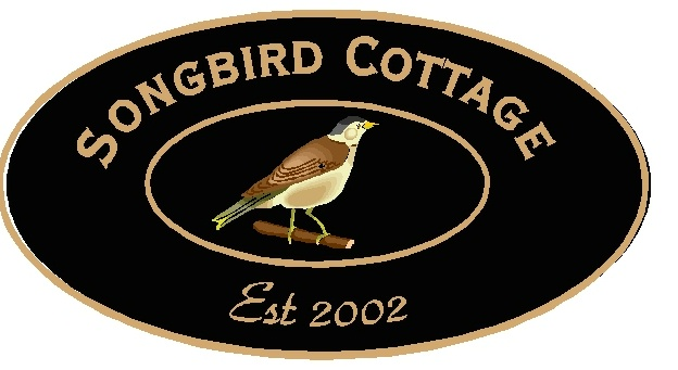 "M22816 - Design of Carved Wood or HDU Sign for ""Songbird Cottage"" with Carved Songbird"