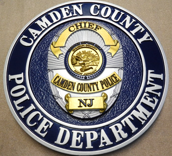 PP-1535 - Carved Wall Plaque of the Badge of the Camden County Police Department, N.J.,  Painted Metallic Gold and Silver