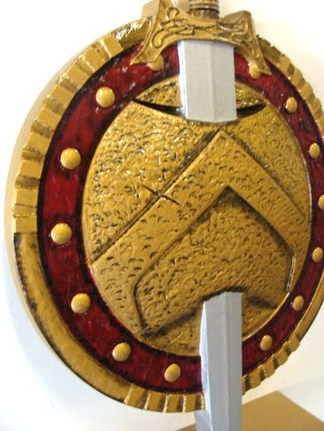 Y34590 - Carved 3-D (Bas Relief)  HDU Wall Plaque for Sword and Leather-Look, Bolted Shield