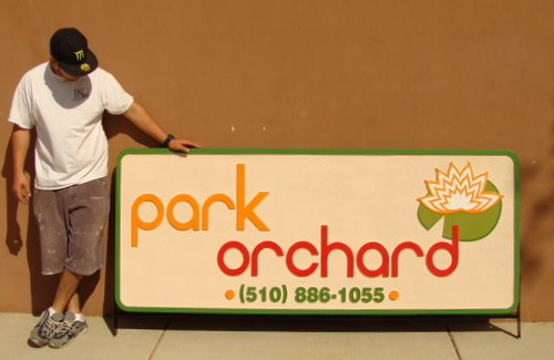 "M5024 - Carved HDU ""Park Orchard"" Store Sign, with Lily and Lilypad"