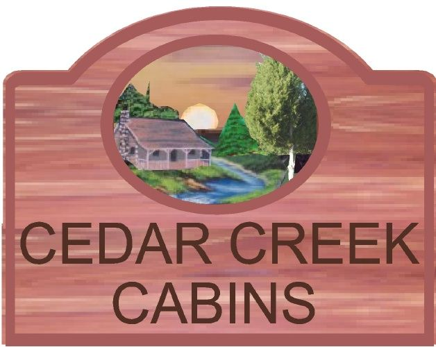 "M22105 - Design of a Eastern Cedar Sign for ""Cedar Creek Cabins"" with Cabin, Trees, Mountain Stream and Sun"