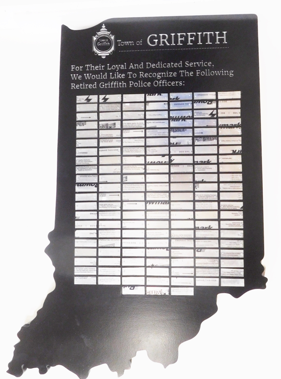 BP-1217 - State of Indiana Map Plaque, wit Aluminum Engraved Plates of Police Officers