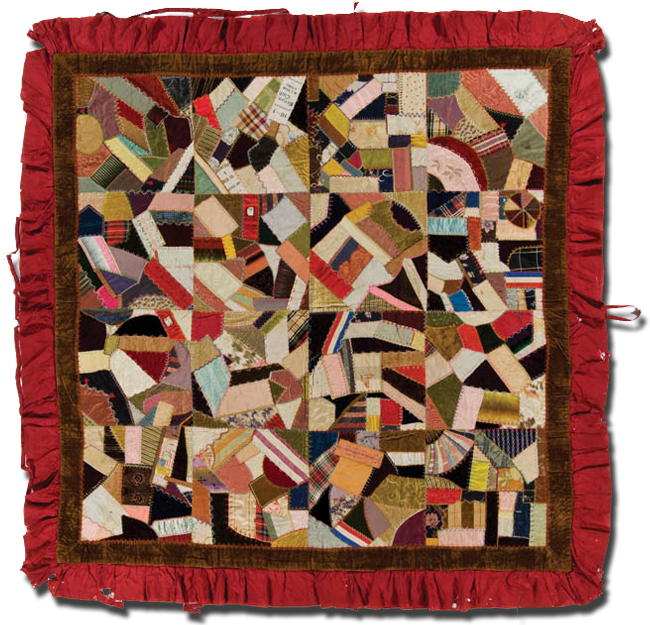 Crazy quilt, maker unknown, made in Nebraska, United States, circa 1896, 69 x 67.5 in, IQSCM 2001.005.0002
