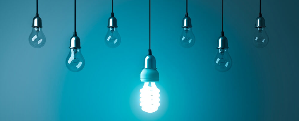 A string of light bulbs to represent thought leadership.