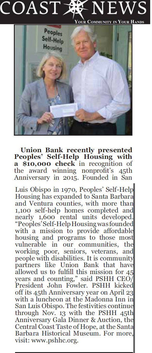 Union Bank recently presented Peoples' Self-Help Housing with a $10,000 check - Coast News