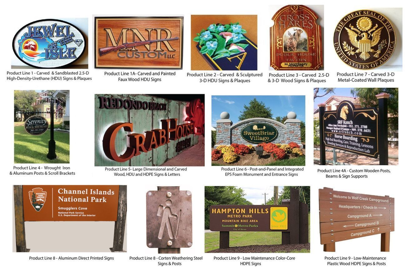 product lines carved wood, HDU and metal signs and plaques