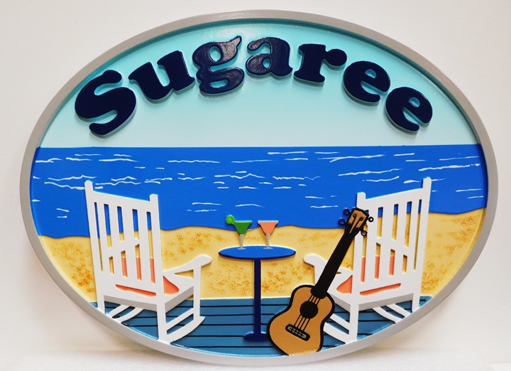 "L21013 - Carved HDU Beach House Name Sign ""Sugaree"", 2.5-D, Artist Painted, with Beach Chairs & Guitar"