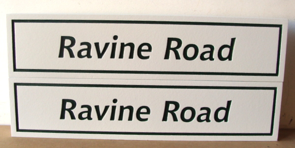 H17053 - Engraved HDU Road Name Signs for Ravine Road,