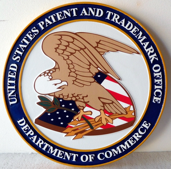 AP-5030 - Carved Plaque of the Patent & Trademark Office, Department of Commerce, Artist Painted