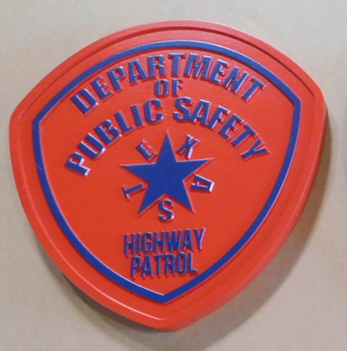 PP-2435 - Carved Plaque of the Shoulder Patch of the Department of Public Safety, Texas