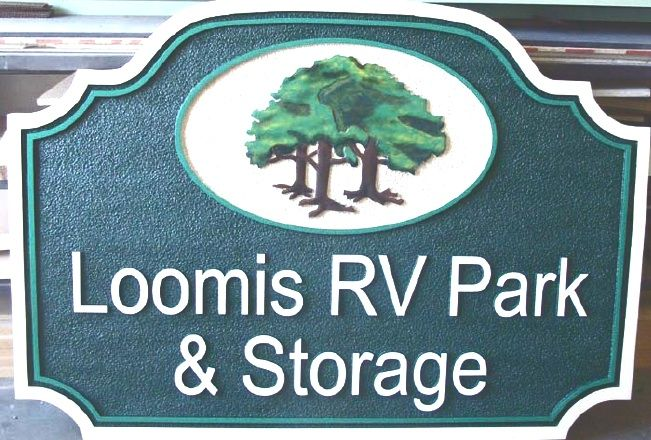 G16310 - Sandstone-Look Sign for RV Park and Storage with Forest Logo