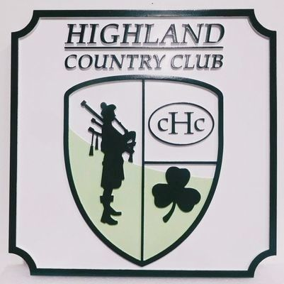 WP-1262 - Carved 2.5-D HDU Plaque of the Logo for the Highland Country Club